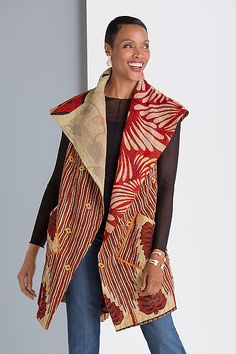 With bold patterns and vibrant colors inspired by vintage saris, this fully reversible vest is an exquisite statement piece. Blossom Print Circular Vest by Mieko Mintz: Woven Vest available at www.artfulhome.com