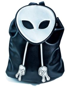 Current Mood Peace Out Bucket Backpack is gunna take ya wayyyy the fuck outta this atmosphere, bb! This dope backpack features a sleek black vegan leather construction, holographic alien head shaped top flap, drawstring closures wit lil peace sign handz, and adjustable shoulder straps.