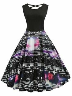 Vintage Clothes Women Retro Fashion High Waist Classy Criss Cross Musical Note Print Dress - Baby clothing boy, Baby clothing girl, Gender neutral and baby clothing Vintage Clothes 70s, Robes Vintage, Vintage Dresses, Vintage Outfits, 50s Vintage, Classy Clothes, Vintage Clothing, Cute Dresses, Beautiful Dresses