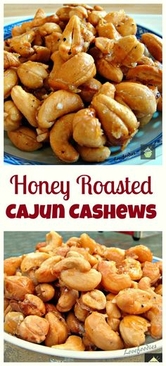 Honey Roasted Cajun Cashews. Oh my! These are so addictive! Easy to make and the flavor combination works really well. Great for parties, movie nights, game nights or just to have all on your own!