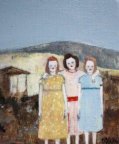 "illustratedladies: ""June 1947 (by amanda blake art) "" Painting People, Figure Painting, Painting & Drawing, Sisters Art, Naive, True Art, Small Art, Whimsical Art, Portrait Art"