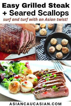 Ready in 30 minutes, this easy Asian fusion surf and turf recipe is perfect for date night and makes celebrating simple and delicious. Grilled flank steak and seared scallops are sure to WOW and make any evening special! The secret is in my super tasty Asian marinade! #surfandturf #searedscallops #flanksteak #valentinesday #summerrecipes Asian Dinner Recipes, Asian Recipes, Seared Scallops, Surf And Turf, Fusion Food, Glass Baking Dish, Flank Steak, Asian Cooking