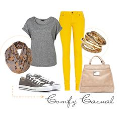 Awesome outfit! Mustard pants, plain gray shirt, gray converses, brown scarf, gold bracelets, and a tan purse