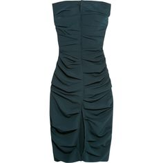 Carmen March Strapless ruched crepe dress ($2,470) ❤ liked on Polyvore featuring dresses, navy, navy blue strapless dress, navy blue dress, blue strapless dress, midi dress and ruched midi dress