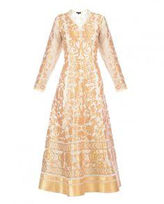Ivory Anarkali Palazzo Suit with Golden Bird Applique - Armaan Aiman - Designers