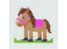 Anchor Pauly Horse Cross Stitch Craft Kit Anchor Counted Cross Stitch Starter Set for Beginners or Children Makes an ideal first cross stitch set. Simple, colourful designs, these lovely kits are great and will inspire confidence and help progress your craft. Stitched on 8 count white Aida fabric, this super kit is a delight & is fun to stitch. Perfect for framing or finishing as a decorative mini cushion/cushion panel ... or even a coaster ! This counted cross stitch...