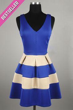 *** New Style *** Retro Flirt Sleeveless Skater Dress with Pleated Striped Bottom and Zipper Back Closure.