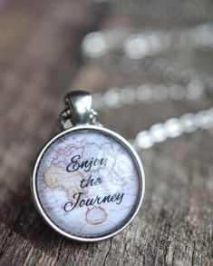 Enjoy The Journey Quote Necklace  Created using a 25mm Glass Dome Cabochon and Pendant, with a 24inch Chain.  Add a touch of inspiration to any