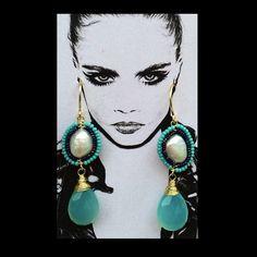 Handmade #pgaccesorios #chapadeoro #earrings #byme #calcedonia #perla - pg_joyeriaartesanal