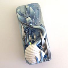 Frost Mermaid Tail Slide Top Tin, Sewing Needle Case , Polymer Clay Covered Tin, Magnetic Needle Case by Claybykim on Etsy