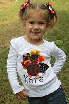 Thanksgiving Shirt for girls  Pretty by DarlingLittleBowShop