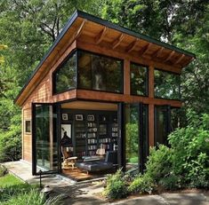 Awesome Modern Tiny House Exterior Design Ideas - There are singles, couples and even families who are opting to live in tiny homes and spend most of their lives traveling and exploring new places. Cabins In The Woods, House In The Woods, House In Nature, Harrison Design, Casas Containers, Tiny House Cabin, Cozy House, Cottage House, Small House Design