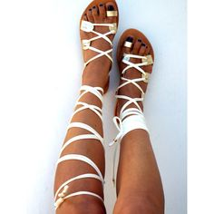Gladiator Leather Sandals, Ivory and gold lace up Sandals, Spartan... ($99) ❤ liked on Polyvore featuring shoes, sandals, gold leather sandals, bridal sandals, greek sandals, lace-up sandals and roman sandals