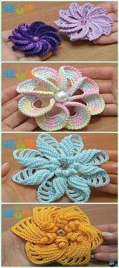 Crochet Spiral Flower Free Patterns [Video] - #Crochet 3D Flower Motif Free Patterns