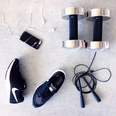 strength and style ladies!   flatlay monochrome dumbells iPhone 6 skipping rope fitness health food training style menswear womenswear fashion bayse luxe activewear