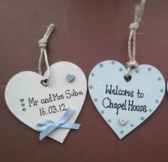 £4.50 each Wooden personalised hearts/ shabby chic/ gifts/ plaques/ newlywed/ wedding gifts/ anniversary gift/ present / new home/ welcome sign / b&b / holiday cottage / birthday / wife/ valentines day /  www.facebook.com/cosycottagesomerset