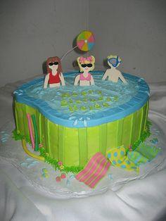 Birthday pool party cake!