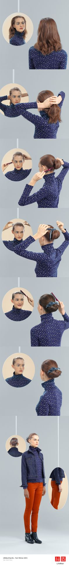"""""""THE CHIGNON"""" : Our denim jacket and ultra stretch jeans make this look complete. Click the image for DIY instructions! #Chignon #Hair #Hairstyle #DIY #UNIQLO"""