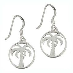 Southern Gates Sterling Silver 14mm Round Palmetto Tree Earring