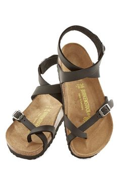 Birkenstock Italian Summer Sandal by Birkenstock - Flat, Leather, Black, Boho, Best, Strappy, Solid, Casual, Festival