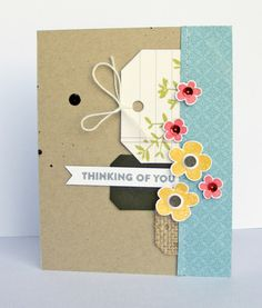 Thinking of You Card by Nicole Nowosad featuring Jillibean Soup Hardy Hodgepodge, Healthy Hellow, Mushroom Medley and Tag, You're It! collections.