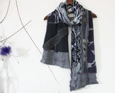 Handmade men's scarves Grey black scarves Scarf by Nazcolleccolors
