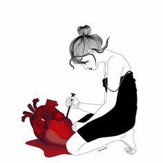 by Rita Renoir Renoir, Painting & Drawing, Broken Heart Art, Henn Kim, Art Et Illustration, Nocturne, Anime, New Artists, Word Art