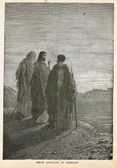 "Gustave Dore's Illustration - ""JESUS APPEARS AT EMMAUS"" - Woodcut - c1880"