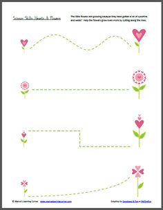 Scissor Skills: Hearts & Flowers | Mamas Learning Corner  (use for pre-writing tracing instead)