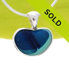 Heart Of The Ocean - ULTRA RARE Natural Sea Glass Heart In Deluxe Sterling Bezel© Pendant