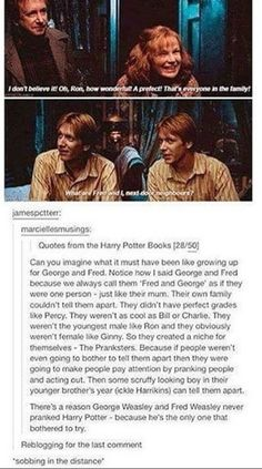 While this is sweet, I don't think so. They are the happiest most popular people ever! Molly can tell them apart, they just prank her and tell her she's wrong sometimes like in the first book at the train. Don't make them seem like sad tortured souls. What makes them special is their ability to be positive and stay light hearted through everything