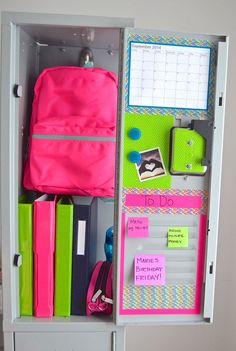 Neon Brights | DIY Locker Organization for School Girls                                                                                                                                                     More