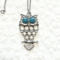 Vintage 70s Silver Tone Owl Pendant with Faux by MsAnomaly on Etsy, $20.00