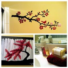 Japanese Cherry Blossom Bathroom Decor