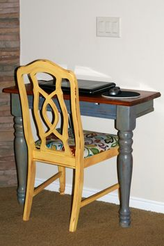 """Larcie Bird: Half Table {repurposed furniture} yellow and grey"" #upcycled Upcycled design inspirations"