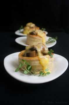 Mushroom Vol au vent with Hollandaise sauce