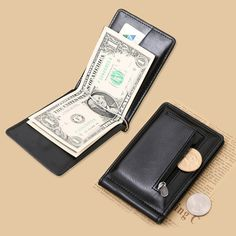 New Classic Fashion Men Dollar Clip Black Coffee Bright Leather 2 Folds Style Money Clips Clamp With Coin Pocket Free Shipping #men, #hats, #watches, #belts, #fashion, #style