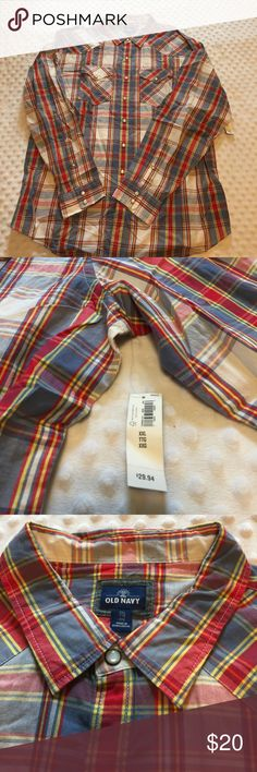 NWT Old Navy Men's Casual Shirt NWT Men's Old Navy Plaid Button Down Long Sleeve Shirt XXL Old Navy Shirts Casual Button Down Shirts