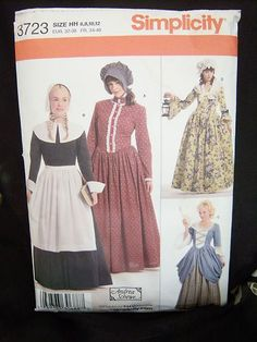 Halloween is coming...get your patterns today. FREE SHIP. Sewing Pattern Women's American Frontier Costumes Size HH 6-12 Simplicity