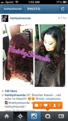 """4 bundles of Satin Tresses hair 18/20/20/24"""" sew  in and colored! (Hair by shaunda)"""
