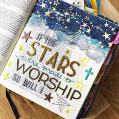 BIBLE JOURNALING: If the stars were made to worship so will I. (Page created with the kit Shine Your Light from AllieScraps) Print out these fun pages to create your own notebook in the Bible Drawing, Bible Doodling, Wall Drawing, Scripture Art, Bible Art, Bible Prayers, Bible Scriptures, Bible Study Journal, Scripture Journal