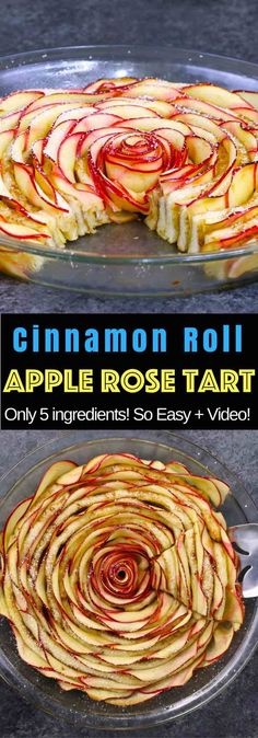 Wow your guests with this gorgeous and delicious Cinnamon Roll Apple Rose Tart. It's so easy to make and are perfect for any party. Made with fresh apples. All you need is only 5 simple ingredients: cinnamon roll dough, red apples, lemon juice, brown sugar and butter. So beautiful! Quick and easy recipe. Vegetarian. Video recipe. #applerose #roseapple #roseapplepie #applerosetart