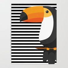 TOUCAN tropical toucans Mini Art Print by magic-dreams Animal Art Prints, Bird Prints, Posca Art, Art Watercolor, Art Et Illustration, Inspiration Art, Diy Frame, Art Design, Geometric Art