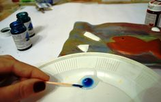 How To Make Air Dry Clay Object Embossed with Glass Effect - step 8 mixing glue and glass color for glass effect