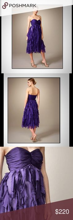 🆕Unforgettable Strapless Silk Purple Evening Gown Modern mid-calf length on this Badgley Mischka Platinum Label dress represent all the best to combine with a jewel-tone smoky eye and silver sandals.  Nonetheless beautiful! Purple satin. Strapless, sweetheart neckline. Ruched bodice gathers at center. Empire waist. Tonal chiffon shreds forms full A-line skirt. Mid-calf hem. This is you 😁 Badgley Mischka Dresses Midi