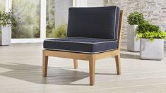 Regatta Natural Armless Chair with Sunbrella ® Cushion | Crate and Barrel