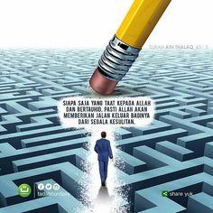 """#Tadabbur Surah Ath Thalaq 65: 2 . """"... Siapa saja yang taat kepada Allah dan bertauhid pasti Allah akan memberikan jalan keluar baginya dari segala kesulitan."""" .  Follow @InspirasiAlQuran @InspirasiAlQuran .  @tadabburdaily"""