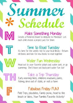 How to have a Fun Summer: weekly schedule