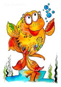 Cute Animal Drawings, Cartoon Drawings, Cute Drawings, Learn Watercolor Painting, Watercolor Artwork, Chicken Art, Happy Paintings, Kids Room Art, Fish Art