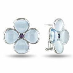 Sterling Silver 24 1/5 CT TGW Multi-Gemstone Stud Earrings Amour. $164.99